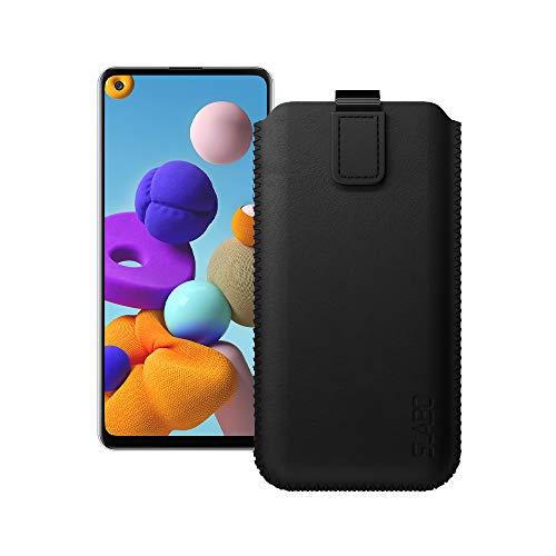 Slabo Schutzhülle für Samsung Galaxy A21s Schutztasche Handyhülle Hülle mit Magnetverschluss aus Kunstleder - SCHWARZ | Black
