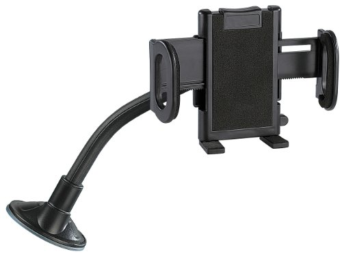 Lescars Handy Halterung Saugnapf: Universal-Schwanenhals-Halterung (Schwanenhals Halterung mit Klemme)