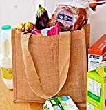 10 x yute arpillera compacto bolso de hombro bolsa de la compra con asas de algodón de colores naturales cinta. Tamaño: 30 cm x 30 cm x 12 cm bolsas (Pack de 10)