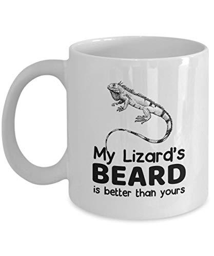 N\A La Barba de mi Lagarto es Mejor Que la Tuya - Taza de café con dragón Barbudo, Blanco