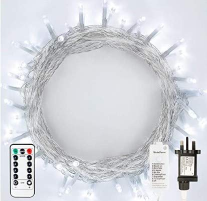 xiahe Plug-in elf Lights, 100 LED Indoor Christmas Lights, Bedroom String Lights with Remote Control, Timer and 8 Modes, Main Power String Lights for Holiday Decoration (Cool White)