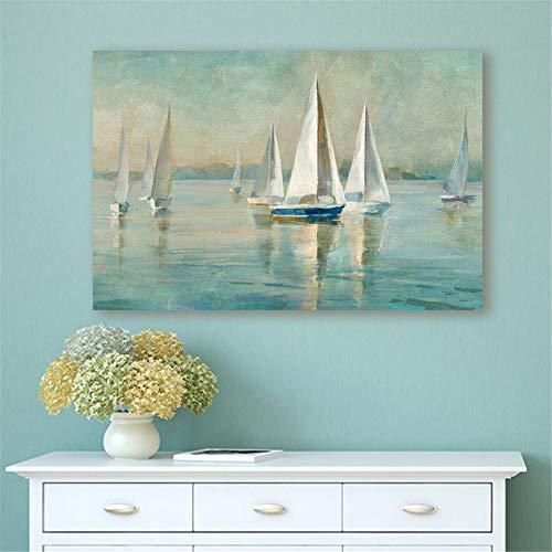Rjjwai Dipinto A Mano Vista Sul Mare Barca A Vela Quadro Su Tela Decorazioni Per La Casa Immagini Murali Per Soggiorno Senza Cornice Camera Da Letto 40x60cm