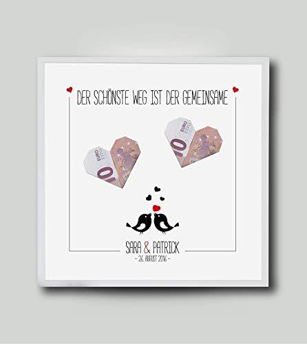 Schönes Geldgeschenk, Gastgeschenk zur Hochzeit, Hochzeitsgeschenk, Geldgeschenk als personalisiertes Bild & Rahmen mit Name, Datum des Brautpaares, Geschenk für Brautpaar