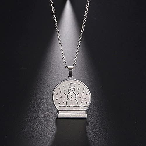 YQMR Colgante Collar para Mujer,Moda Colgante Collar De Mujer Plata Redondo Diseño Clásico Grabado Muñeco De Nieve Colgante Amuleto Joyería De Niña Regalo para Parejas Amigo
