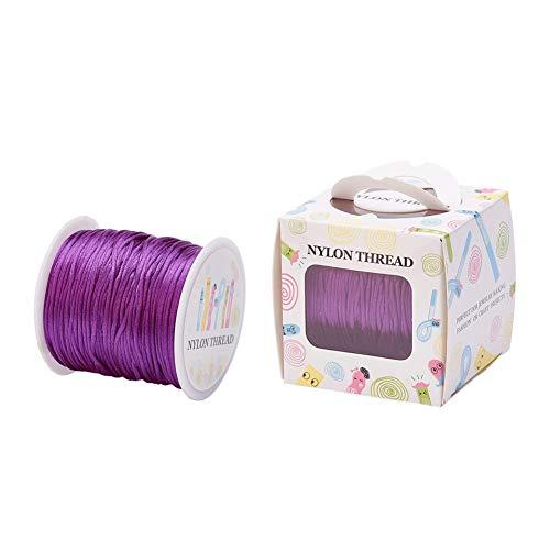 Cheriswelry Cordón de nailon satinado de 70 m de 1 mm de hilo de rata, nudo chino, para joyas, collares, pulseras, macramé, manualidades, decoración del hogar, violeta oscuro