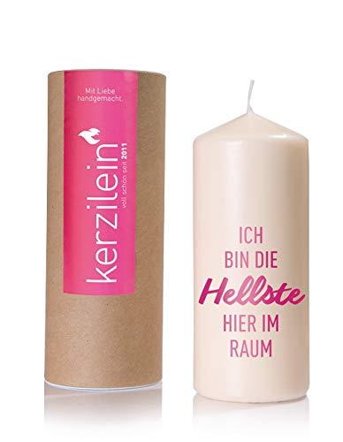 Silamo Kerze ICH Bin DIE HELLSTE Hier IM Raum in Geschenkbox, pink, Höhe 19 cm, Ø 8 cm