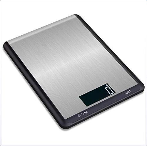 LIAO Digitale Küchenwaage, 11Lb / 5Kg Digitale Küchenwaage Gewicht Gramm Und Oz Für Kochen Backe, Edelstahl Und Gehärtetes Glas, LCD Display,Schwarz