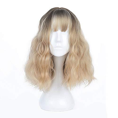 Halflang blond krullend pruiken met Dark Roots Female Wave pruik met pony High Temperature vezel Pruik for Vrouwen Cosplay partij of Daily Dress