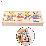 feiyanfyQ Holz-Puzzles Set Baby Lernspielzeug Bär Wickelkleidung Kinder Geburtstag Geschenk – 2#