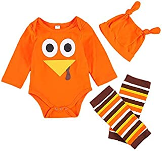 Kelala Newborn Baby Boy Girl My First Thanksgiving Romper Long Sleeve Turkey Fall Onesie Leg Warmers Hat 3pcs Outfits