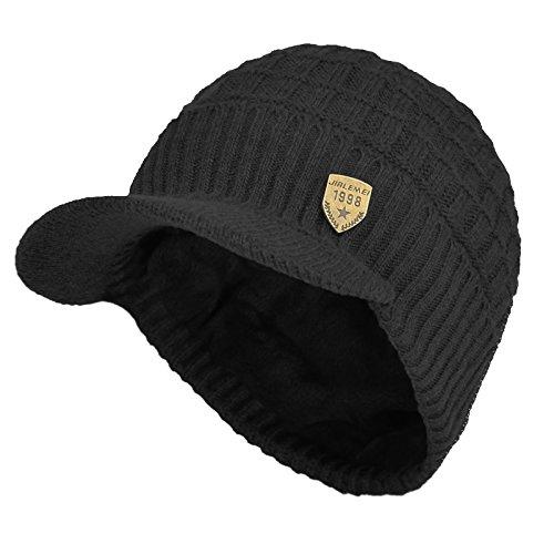 Janey&Rubbins Daily Knit Visor Brim Beanie Hat Fleece Lined Skull Ski Cap (Black-SV)