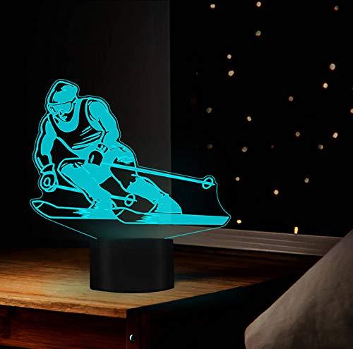 3D Ski Spieler 7 Farben Led Nachtlicht Nachttischlampe 3D Tischlampe Usb Neuheit Schlaflampe Geburtstag Weihnachtsgeschenke Trophäe