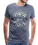 Papa Qui Pique Papa Barbu T-Shirt Premium Homme, S, Bleu chiné