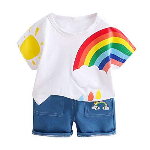 Janly Clearance Sale Conjunto de trajes para niños de 0 a 5 años, camiseta con estampado de arco iris, pantalones cortos, bonitos regalos de Pascua, juego de ropa de bebé para 1 a 2 años (blanco)