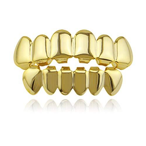 Oben Unten Hip Hop Zähne,Glänzende Zähne, für Männer Frauen Körperschmuck Halloween Cosplay Party Geschenk (Golden)