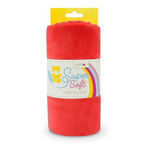kullaloo Supersoft Plüsch Stoff Shorty in vielen Farben - 1,5mm Florlänge, EN 71-3 & EN 71-9 Zertifiziert (Cherry rot)