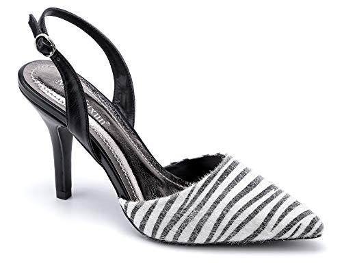 MaxMuxun Zebra Pointed Toe Slingback Pumps mit Kitten-Heel für Hochzeitschuhe Größe 40 EU
