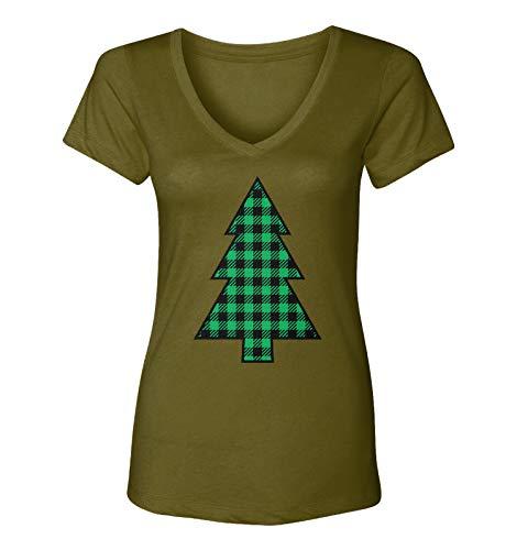 Plaid Pattern Christmas Tree - Xmas Lights Women's V-Neck T-Shirt (Military Green, Medium)