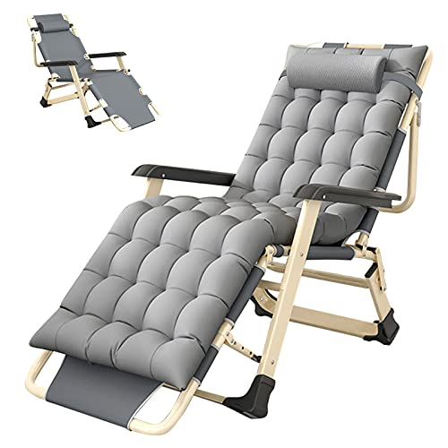 SLSY Lounge Chair Full Flat Lounge Chair with Removeable Pad for Indoor and Outdoor with Cup Holder, Ergonomic Patio Recliner, Fold Lounge Chair for Kids and Adult