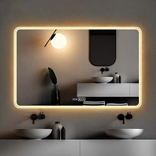 Moolo - Espejo de baño con iluminación LED, con Doble botón táctil, antivaho, Sencillo Espejo Decorativo, Vidrio, 75 x 120 cm