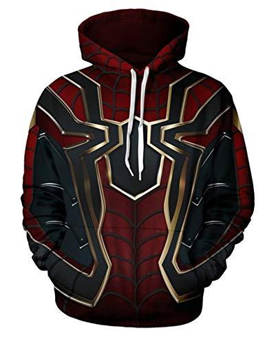 918coshiert Hommes Superhero 3D Spider-Man Cosplay Veste à manches longues Sweat à capuche Sweatshirt Avec Cordon Hoodies(M Rouge)