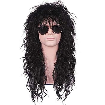Diy-Wig Mens 80s Wig Black Mullet Wigs Halloween Costume Male Wig Long Curly Rocker Anime Wig