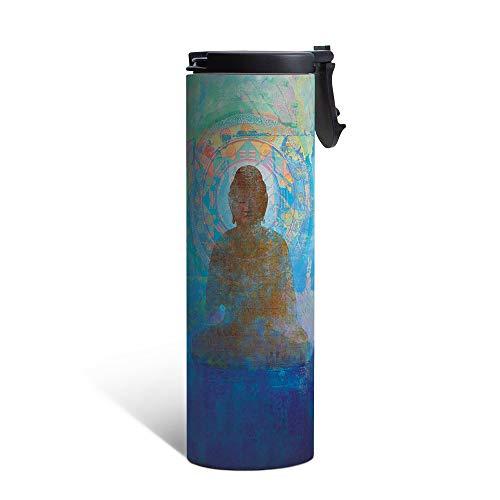Tree-Free Greetings Vacuum Insulated Travel Coffee Tumbler, 17 oz, Blue Buddha