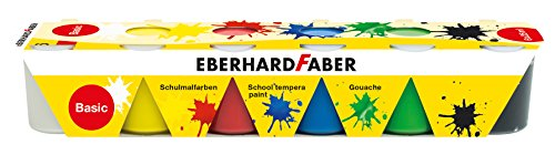 Eberhard Faber 575509 - Schulmalfarben Tempera, 6 x 25 ml Näpfchen, basic
