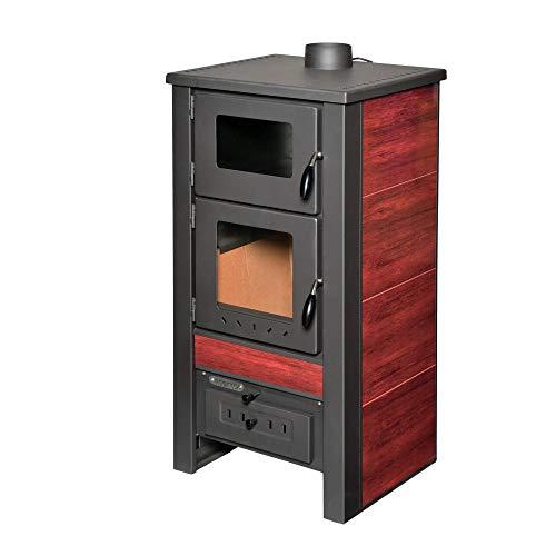 acerto 40563 Santo Holzofen - 8 kW - Kaminofen aus hochwertigem Stahl für Holz & Kohle - Indoor-Ofen zum Kochen & Backen (Rot)