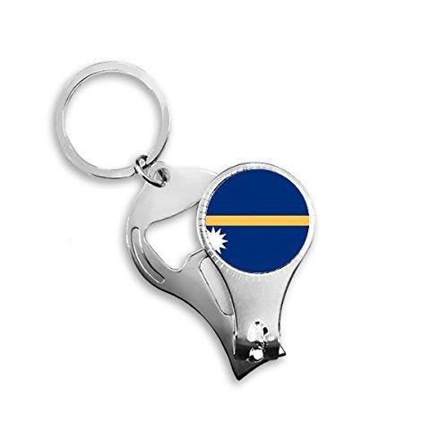 Nauru National Flagge Ozeanien Country Symbol Mark Muster Metall Schlüsselanhänger Ring Multifunktions-Nagelknipser Flaschenöffner Auto Schlüsselanhänger Best Charm Geschenk