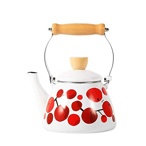 Riyyow Tetal de té de Peso Ligero de 1.5L de 1.5L Tetal de silbido Moderno con caño Tradicional/Retro para encimera o Estufa Superior - Blanco