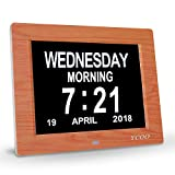 YCOO 8 Inches Digital Calendar Clock,Memory Loss Day Clock- Electronic Digital Clock with Large HD LCD - Desk clock,Wall Clock Excellent for Impaired Vision,12 Alarm Options(Brown Wood Color)