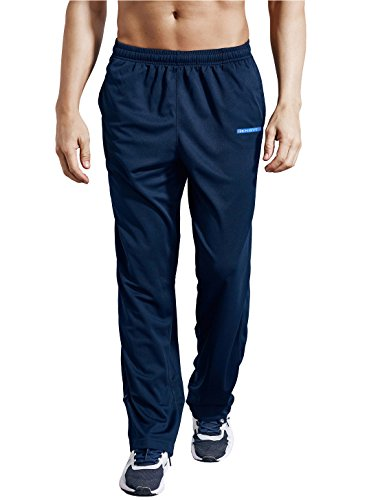 ZENGVEE Men's Sweatpant with Pockets Open Bottom Athletic Pants for Jogging, Workout, Gym, Running, Training(Navy Blue,XL)