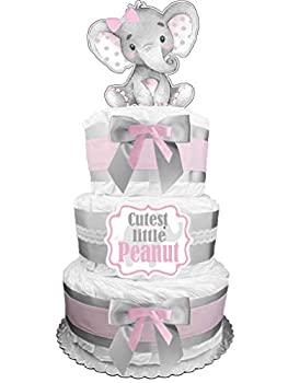 Elephant Diaper Cake - Cutest Little Peanut - Pink and Gray