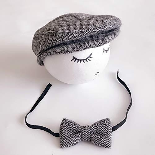 Zhangl Apparel Accessoires de photographie pour nouveau-né Bonnet Cabbie avec nœud papillon Noir/blanc Couleur 1