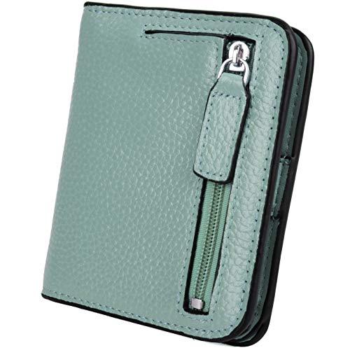 YALUXE Women's RFID Blocking Small Compact Leather Wallet Ladies Mini Purse with ID Window island green RFID