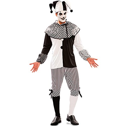 Heren kostuum Harlequin Piper zwart wit Clown Pierrot vermomming carnaval (M/L)