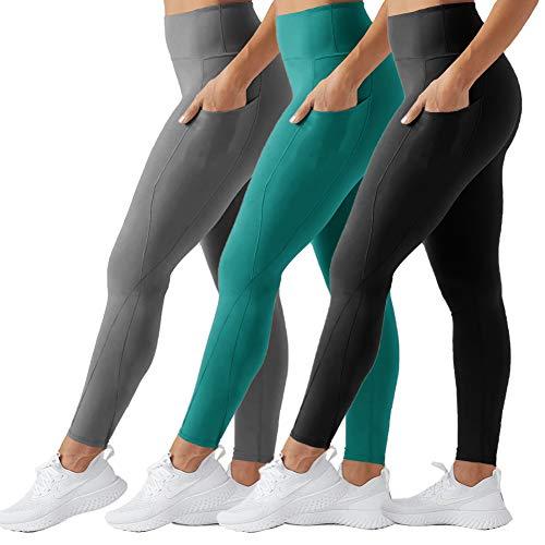 TNNZEET Yoga Pants with Pockets High Waist Power Flex Power Workout Non See-Through Full Length Leggings