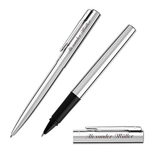 WATERMAN Schreibset GRADUATE Chrom C.C. mit Gravur Tintenroller und Kugelschreiber
