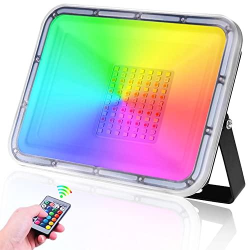 50W Foco LED RGB de Colores, TASINUO Focos LED Exterior IP67 Impermeable con Mando a Distancia, 16 colores 4 modos Ritmo Musical Aplique Pared Exterior para Jardín Fiesta Navideña Iluminación