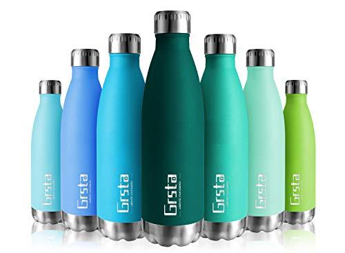 Grsta Thermosflasche BPA Frei Vakuum Isoliert Edelstahl Trinkflasche 750ml/Dunkelgrün Thermoskanne Doppelwandige Isolierflasche Auslaufsicher Kinder Wasserflaschen für Schule, Küche, Zuhause