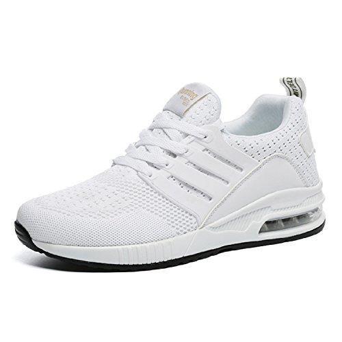 tqgold Herren Damen Sportschuhe Laufschuhe Bequem Atmungsaktives Turnschuhe Sneakers Gym Fitness Leichte Schuhe (Weiß,Größe 37)