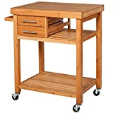 HOMCOM Bamboo Rolling Kitchen Island Trolley Utility Cart on Wheels, 2 Storage Drawers and Adjustable Shelving with Towel Rack