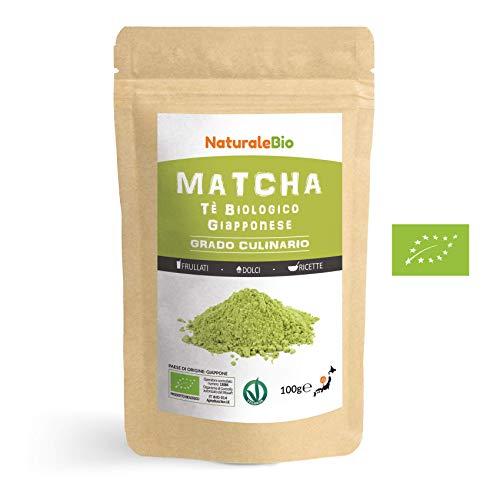 Matcha Tee Pulver Bio [ Cooking-Qualität ] 100 GR. Original Green Tea aus Japan. Japanischer Matcha Ideal zum Smoothies – Shakes - Latte. Tee hergestellt in Japan Uji, Kyoto. NaturaleBio