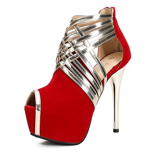 Fereshte Sandalias de vestir para mujer con plataforma y tacón alto, color, talla 37 1/3 EU (Ropa)