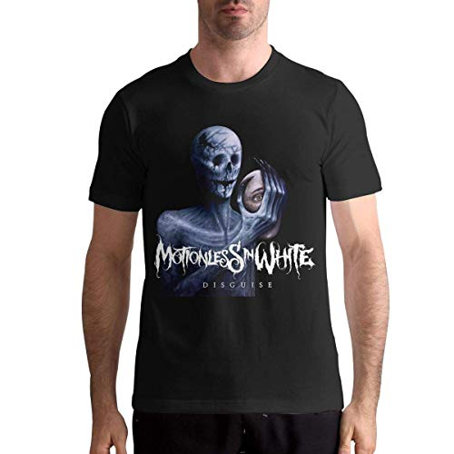 ludouqingJ Camisetas y Tops Hombre Polos y Camisas, Motionless in White Disguise Mens Stylish Muscial Crewneck Ultra Cotton Short Sleeve Tshirt Black