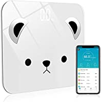 Bluetooth Body Fat Scale Bathroom Highly Accurate Smart Digital Weight Scale with Smartphone App 400lb 180kg(white bear)