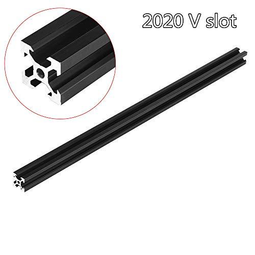 belupai 100-1000mm Marco de extrusión de perfil de aluminio negro con ranura en V 2020 para máquina de grabado láser CNC