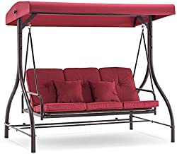 MCombo 3-Seat Outdoor Patio Swing Chair, Adjustable Backrest and Canopy, Porch Swing Glider Chair, w/Cushions and Pillows, 4068 (Burgundy)