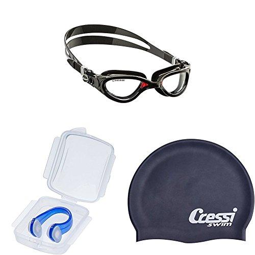 Cressi Flash - Premium Schwimmbrille + Nasenklemmefür  und Silikon Hypoallergen Badekappe für Schwimmen und Pool